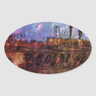 LOST TO THE RAVAGES OF TIMEship ship wreck shipwre Oval Sticker