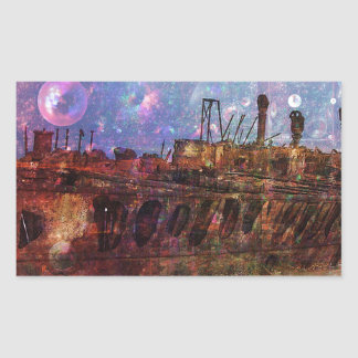LOST TO THE RAVAGES OF TIMEship ship wreck shipwre Rectangular Sticker