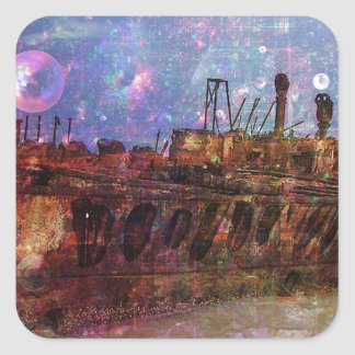 LOST TO THE RAVAGES OF TIMEship ship wreck shipwre Square Sticker