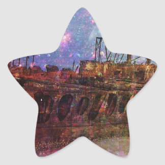 LOST TO THE RAVAGES OF TIMEship ship wreck shipwre Star Sticker