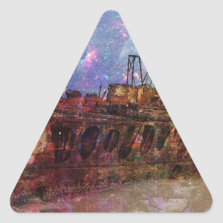 LOST TO THE RAVAGES OF TIMEship ship wreck shipwre Triangle Sticker