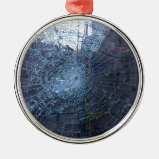 Lost -- with Broken Glass and Map Metal Ornament