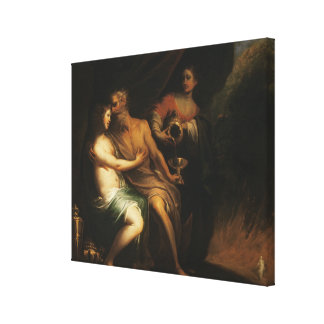 Lot and his Daughters (oil on canvas) 3 Canvas Print