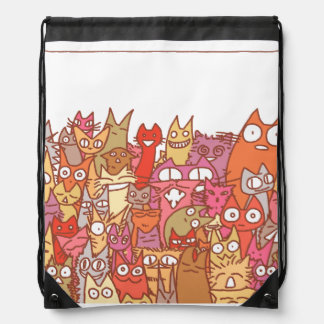Lot Cats Drawstring Bag