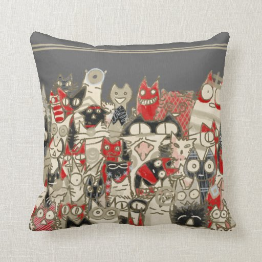 Lot Cats (Japanese Style) Throw Pillow Zazzle