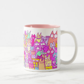 Lot Cats Two-Tone Coffee Mug