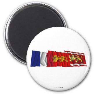 Lot-et-Garonne, Aquitaine & France flags Refrigerator Magnet