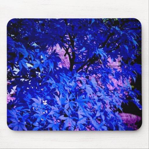 lot of leaves, blue mousepad
