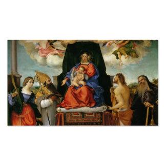 Loteria Madonna con ángeles y santos de Lorenzo Tarjeta De Visita