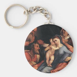 Loteria Madonna de Lorenzo y niño con los santos Llavero Personalizado