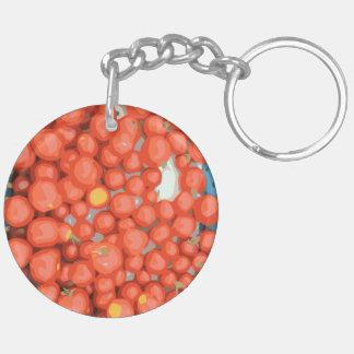 Lotes del tomate, maduro y jugoso llavero redondo acrílico a doble cara