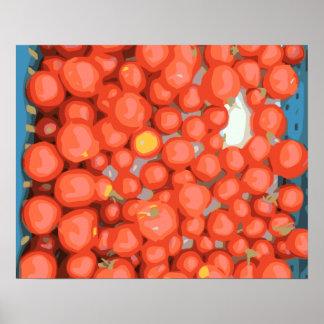 Lotes del tomate, maduro y jugoso poster