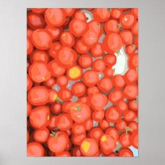 Lotes del tomate, maduro y jugoso impresiones