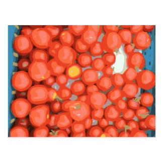 Lotes del tomate, maduro y jugoso postal