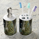 lotion toothbrush  abstract beach fishing nets soap dispenser and toothbrush holder