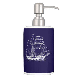 lotion toothbrush  Blue sail boat ship nautical Soap Dispenser And Toothbrush Holder