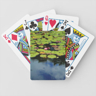 Loto rosado en lluvia baraja de cartas