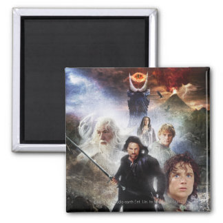 LOTR Character Collage 2 Inch Square Magnet