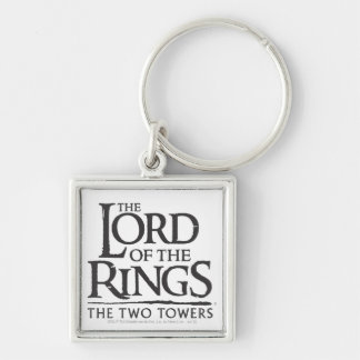 LOTR Stacked Logo Silver-Colored Square Keychain