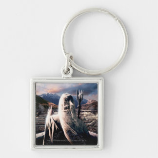 LOTR: TT Saruman Movie Poster Silver-Colored Square Keychain