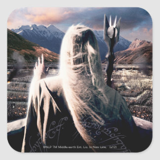 LOTR: TT Saruman Movie Poster Square Sticker
