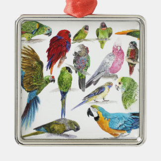 Lots and lots of Parrots on lots and lots of gifts Metal Ornament