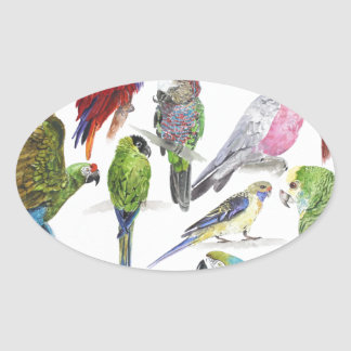 Lots and lots of Parrots on lots and lots of gifts Oval Sticker