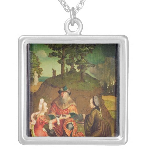 Lot's daughters make their Father drink Wine Square Pendant Necklace