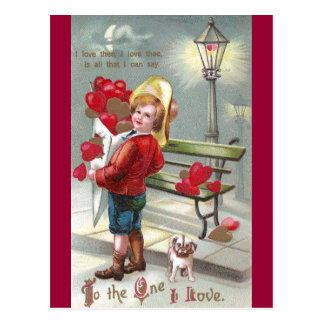 Lots O' Hearts and Pup Valentine Postcard