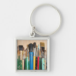 Lots of Artist Paint Brushes Keychain