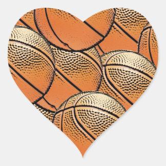 Lots of basketballs pattern heart sticker