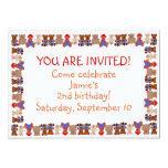 "Lots of Bears Birthday Invitation 5"" X 7"" Invitation Card"