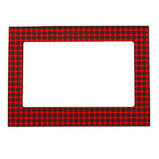 Lots of Black Dots on Red Magnetic Photo Frame