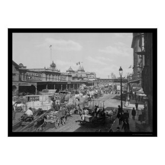 Lots of Business on West Street in New York 1901 Print