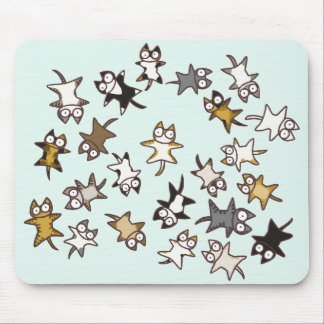 Lots of cats Pale blue Mouse Pad