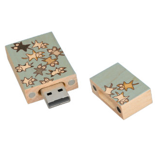 Lots of Cats Wood Flash Drive