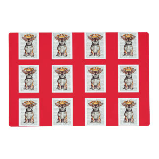 LOTS OF CHIHUAHUAS- COLORFUL HOLIDAY PLACEMATS