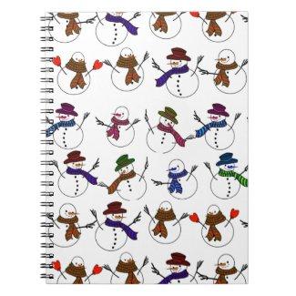 Lots of Christmas Cartoon Snowmen Spiral Notebooks