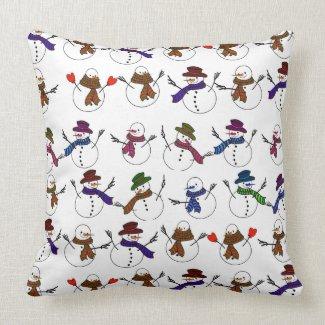 Lots of Christmas Cartoon Snowmen Throw Pillows