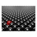 Lots Of Chrome Black Balls With One Red Poster