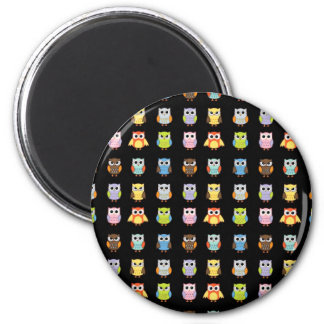 Lots of Colorful Cute Owls Pattern 2 Inch Round Magnet