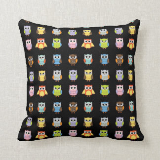 Lots of Colorful Cute Owls Pattern Throw Pillow