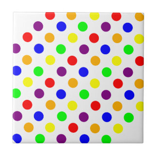 Lots of Colorful Dots Ceramic Tile