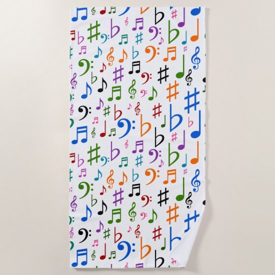 Lots of Colorful Music Notes and Symbols Beach Towel