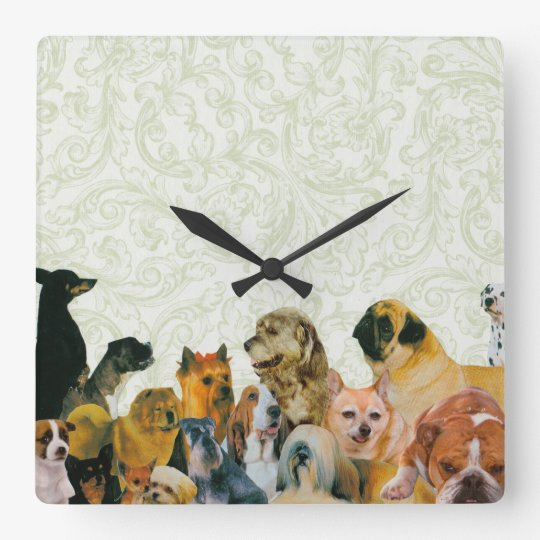 Lots of Dogs Collage Square Wall Clock