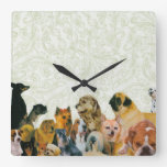 Lots of Dogs Collage Square Wallclocks