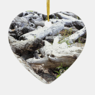 Lots of Driftwood Double-Sided Heart Ceramic Christmas Ornament