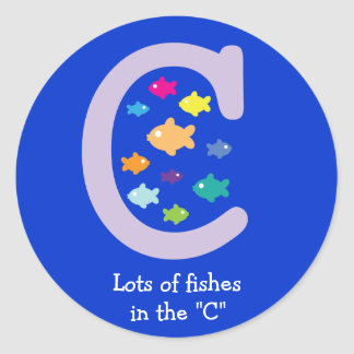 """Lots of Fishes in the """"C""""_multicolored goldfish Round Sticker"""