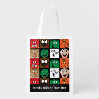 Lots of Fun Scary Halloween Characters Faces Reusable Grocery Bags