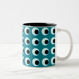 Lots of Googly Eyes Customizable Background Color Two-Tone Coffee Mug